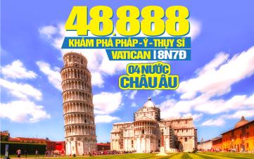 Tour Du Lịch Châu Âu 4 Quốc Gia Pháp | Ý | Thụy Sĩ | Vatican | 8N7Đ KH Đà Nẵng