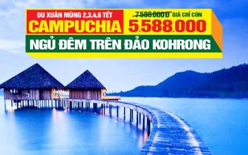 Du lịch Tết Campuchia Ngủ Đảo Kohrong 4 sao | Phnomphenh  | Hoàng Cung | Chùa Vàng | 4N3Đ