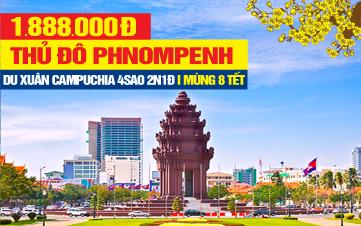 Tour du lịch Tết Nguyên Đán Campuchia | Thủ đô Pnomphenh | 3sao 2N1Đ