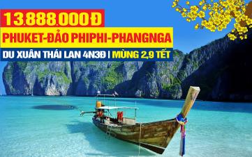 Tour Du lịch Tết Nguyên Đán Thái Lan thiên đường Phuket | đảo Phi Phi | vịnh Phang Nga | 5N4Đ