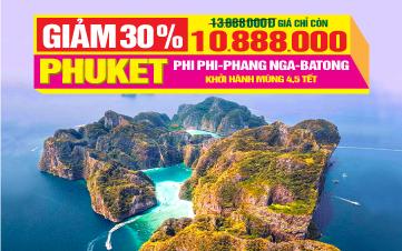 Tour Du lịch Tết Nguyên Đán Thái Lan thiên đường Phuket | đảo Phi Phi | vịnh Phang Nga | 4N3Đ