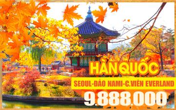 Tour du lịch mùa thu Hàn Quốc-Seoul | Namsan Tower | Đảo Nami | Everland 5N4Đ