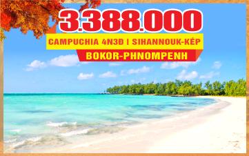 Tour Du Lịch mùa thu Campuchia mới | BIỂN KÉP | KAMPOT |  SIHANOUKVILLE | PHNOMPHENH | 4N3Đ