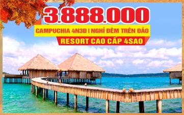 Tour du lịch mùa thu Campuchia Ngủ Đảo Kohrong | Phnomphenh  | Hoàng Cung | Chùa Vàng | 4N3Đ