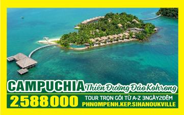 Du lịch Campuchia 4Sao PhnomPenh | đảo KohRong 3N2Đ