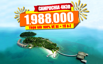 Du lịch Campuchia 4Sao 1tr988 Thiên đường biển Kohrong | Sihanoukville | Kép | Bokor 4N3Đ