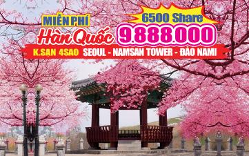 Du lịch Hàn Quốc Dịp Hè trọn gói 9tr888 Seoul | Namsan Tower | Đảo Nami | Everland 5N4Đ