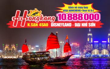Du lịch Hongkong 4Sao 10tr888 | Disneyland | Đại Nhĩ Sơn cuối tuần 3N3Đ