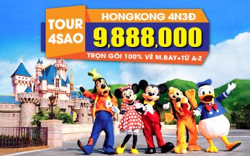 Du lịch Hongkong 4Sao 9tr888 Hongkong | Disneyland | Đại Nhĩ Sơn cuối tuần 4N3Đ