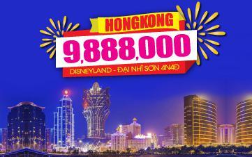Du lịch Hongkong 4Sao 9tr888 | Disneyland | Đại Nhĩ Sơn cuối tuần 4N3Đ