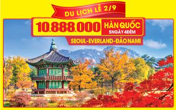 Tour du lịch Hàn Quốc Lễ 2/9 Seoul   Namsan Tower   Đảo Nami   Everland 5N4Đ