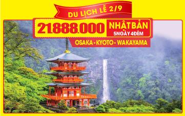 DU LỊCH NHẬT BẢN Lễ 2/9 OSAKA   KYOTO   KOBE   5N4Đ Bay thẳng từ HCM