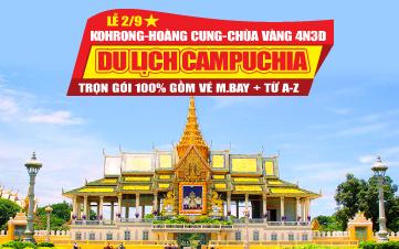Du lịch Campuchia 4N3Đ Dịp Lễ 2/9 | Kohrong Samloem | Hoàng Cung | Chùa Vàng