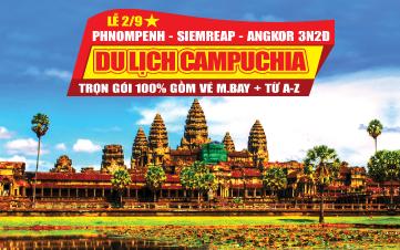 Du lịch Campuchia Lễ 2/9 4Sao PhnomPenh | Siemreap | Angkor 3N2Đ