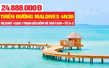 DU LỊCH MALDIVES RESORT 4SAO NGOÀI ĐẠI DƯƠNG 4N3Đ