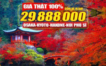 Du lịch Nhật Bản 4Sao 29tr888 Osaka | Kyoto | Núi Phú Sĩ | Tokyo 6N5Đ