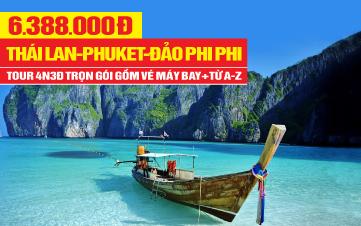 DU LỊCH THÁI LAN   thiên đường Phuket   đảo Phi Phi   vịnh Phang Nga  4N3Đ