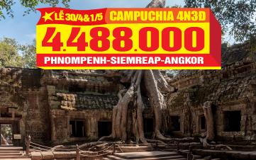 Du lịch Campuchia lễ 30/4 Siemreap | Angkor Wat | Thủ Đô Phnompenh |  4N3Đ