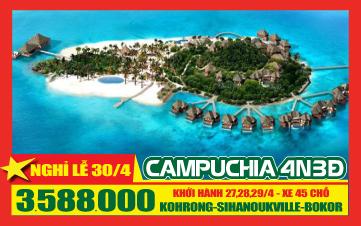 Campuchia Lễ 30-4 Kohrong Shihanoukvile - Cao Nguyên Bokor 4N3Đ