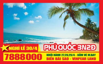 Lễ 30/4 - Phú Quốc | Vinpearland | Tắm biển Bãi Sao 3N2Đ