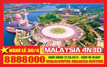 Du lịch Malaysia Lễ 30/4 Kualalumpur | Putrajaya | Malacca | Genting 4N3Đ