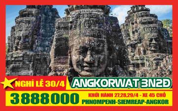 Campuchia Lễ 30-4 4Sao PhnomPenh | Siemreap | Angkor 3N2Đ