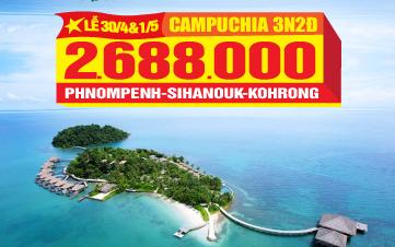 Tour du lịch Campuchia - Viptour Đảo Kohrong Saloem | Shihanouk | Phnompenh 3N2Đ