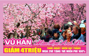 Du Lịch Trung hoa ngắm hoa Anh Đào tại Vũ Hán-thủ phủ hoa Anh Đào Thế Giới 4N3Đ